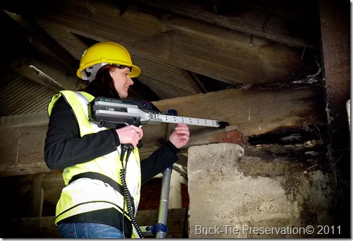 Sib Tec DMP being demonstrated by Katrina Jackson of Brick-Tie Preservation at a barn in Yorkshire