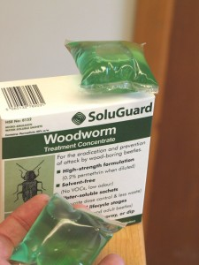 Safeguard's proven Soluguard permethrin based woodworm treatment.