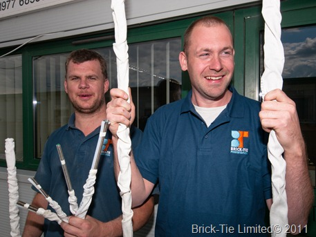 Brick-Tie technicians show off some of the Cintec anchors we've used on tie and stitching jobs recently