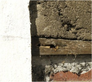 Close-up of the wall behind the Tudor joinery