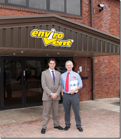 Bryan Hindle and Stuart Wright at Envirovent's Positive Input Ventilation unit assembly plant