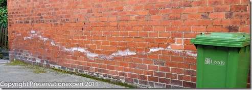 Rising damp from a house in Leeds, West Yorkshire
