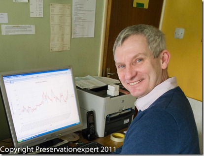 Bryan Hindle studying humidity data in Graham Coleman's Dorset Lab