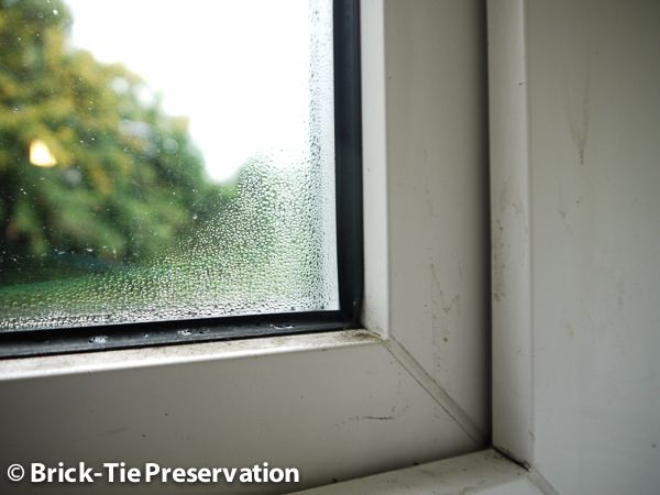 Image of a double glazed window with condensation on it